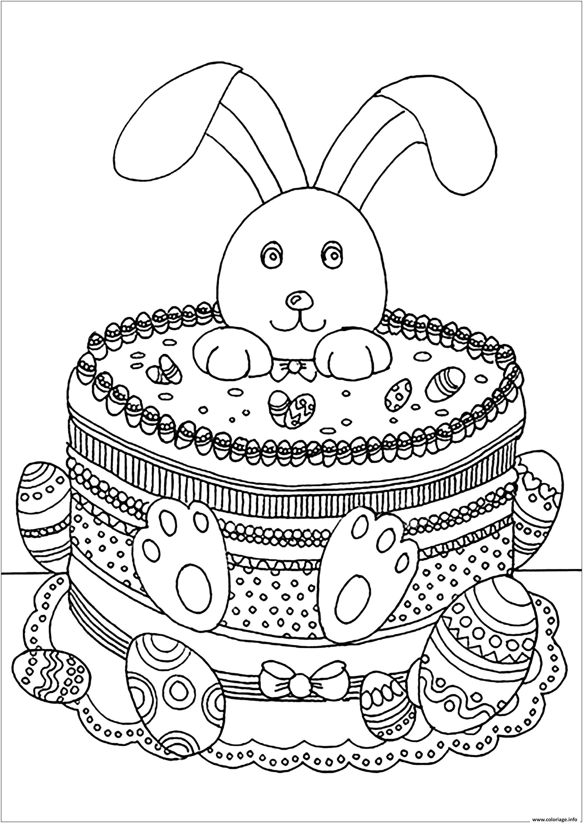 Coloriage Lapin De Paques Adulte dessin
