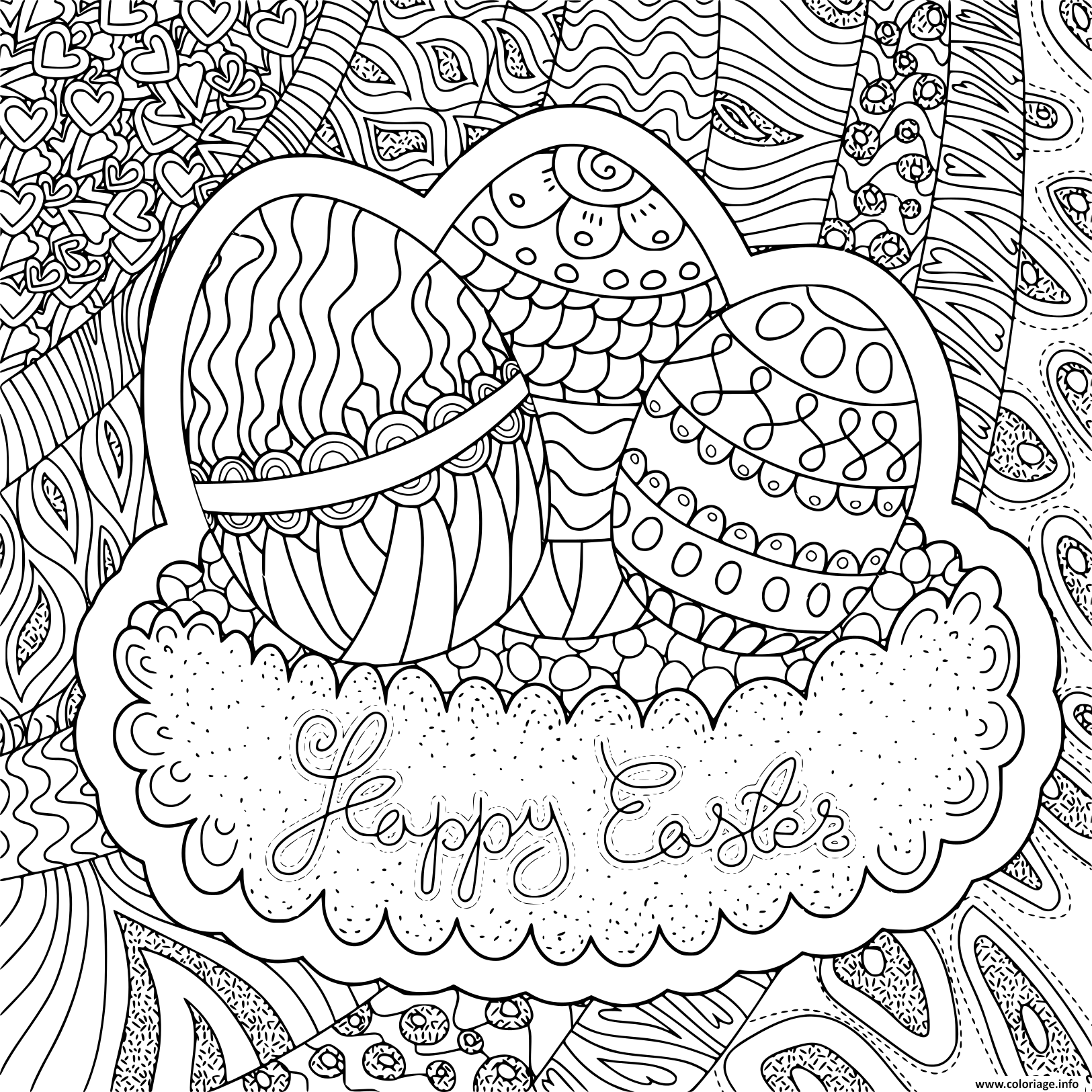 Coloriage Adulte Paques.Coloriage Adulte Paques Pattern Easter Jecolorie Com