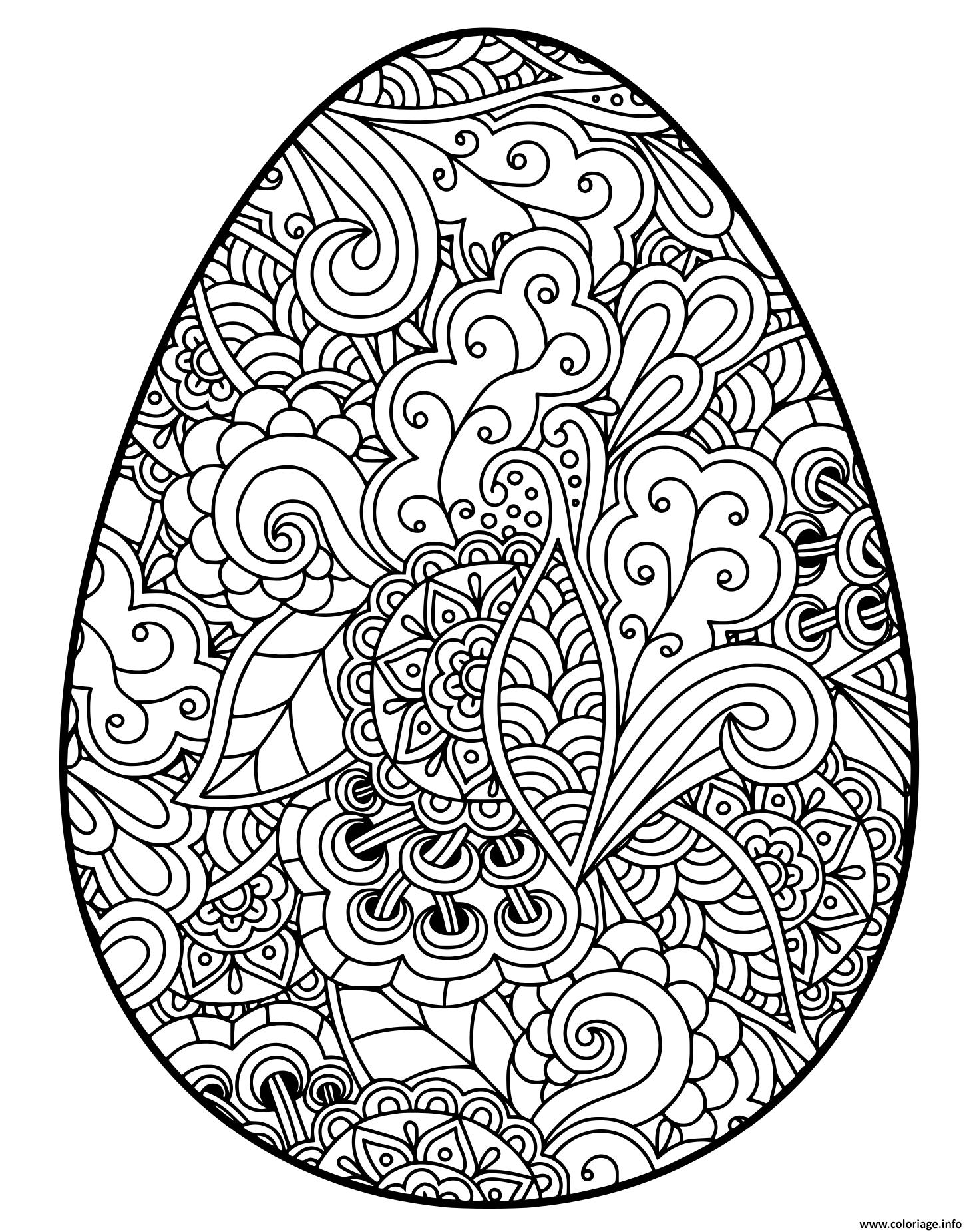Dessin easter egg oeuf paque adulte Coloriage Gratuit à Imprimer