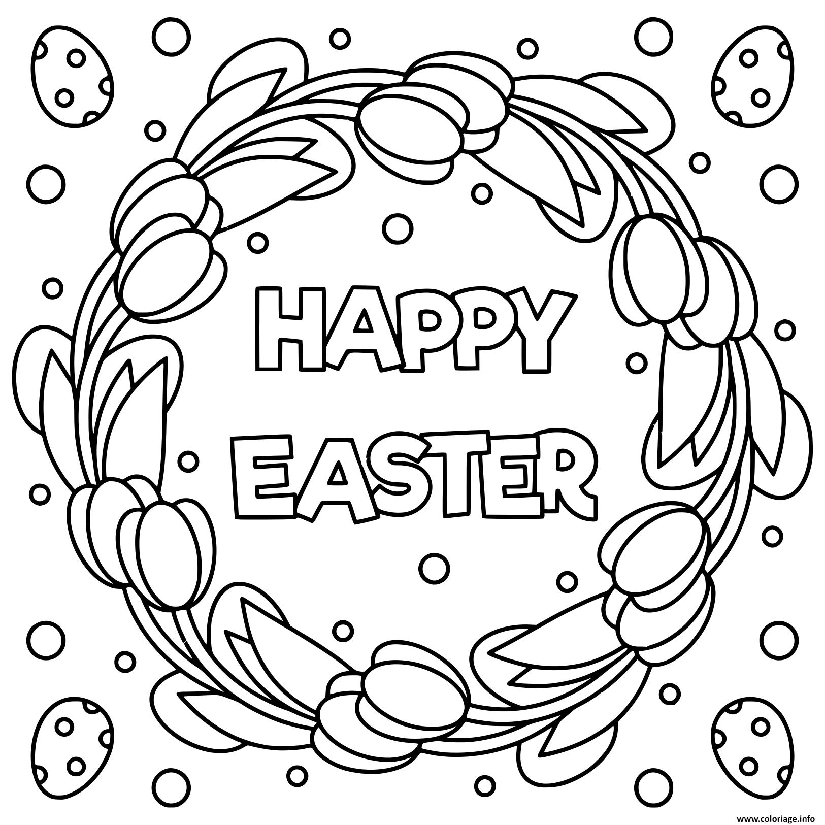 Dessin joyeux paques noir et blanc illustration  Coloriage Gratuit à Imprimer
