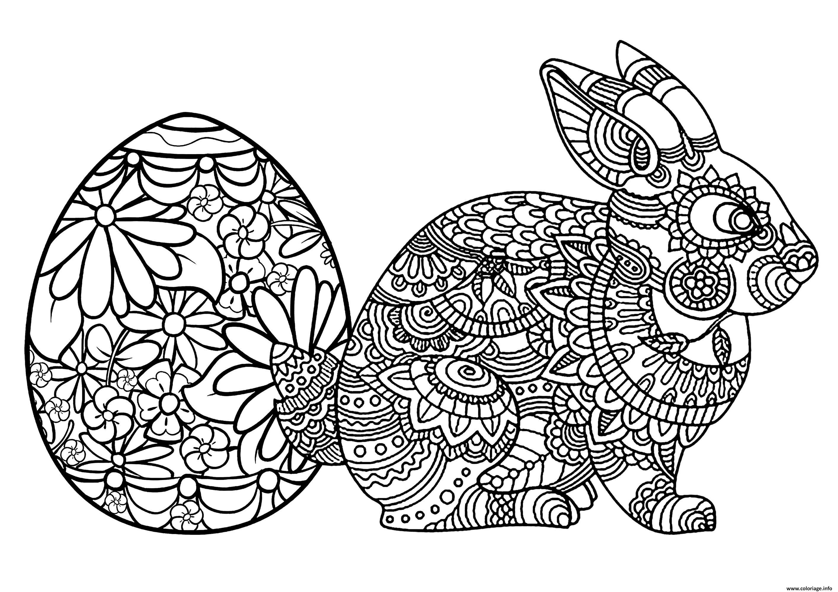 Dessin oeuf et lapin de paques adulte Coloriage Gratuit à Imprimer