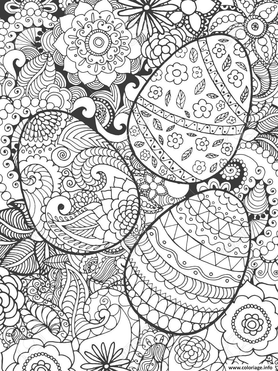 Coloriage Paques Design.Coloriage Adulte Fleurs De Paques Dessin