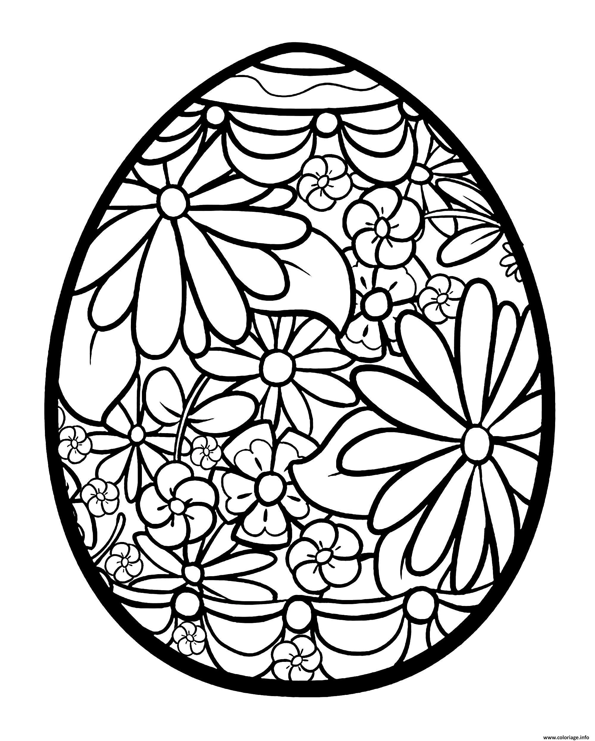 Dessin oeuf de paques fleuri Coloriage Gratuit à Imprimer