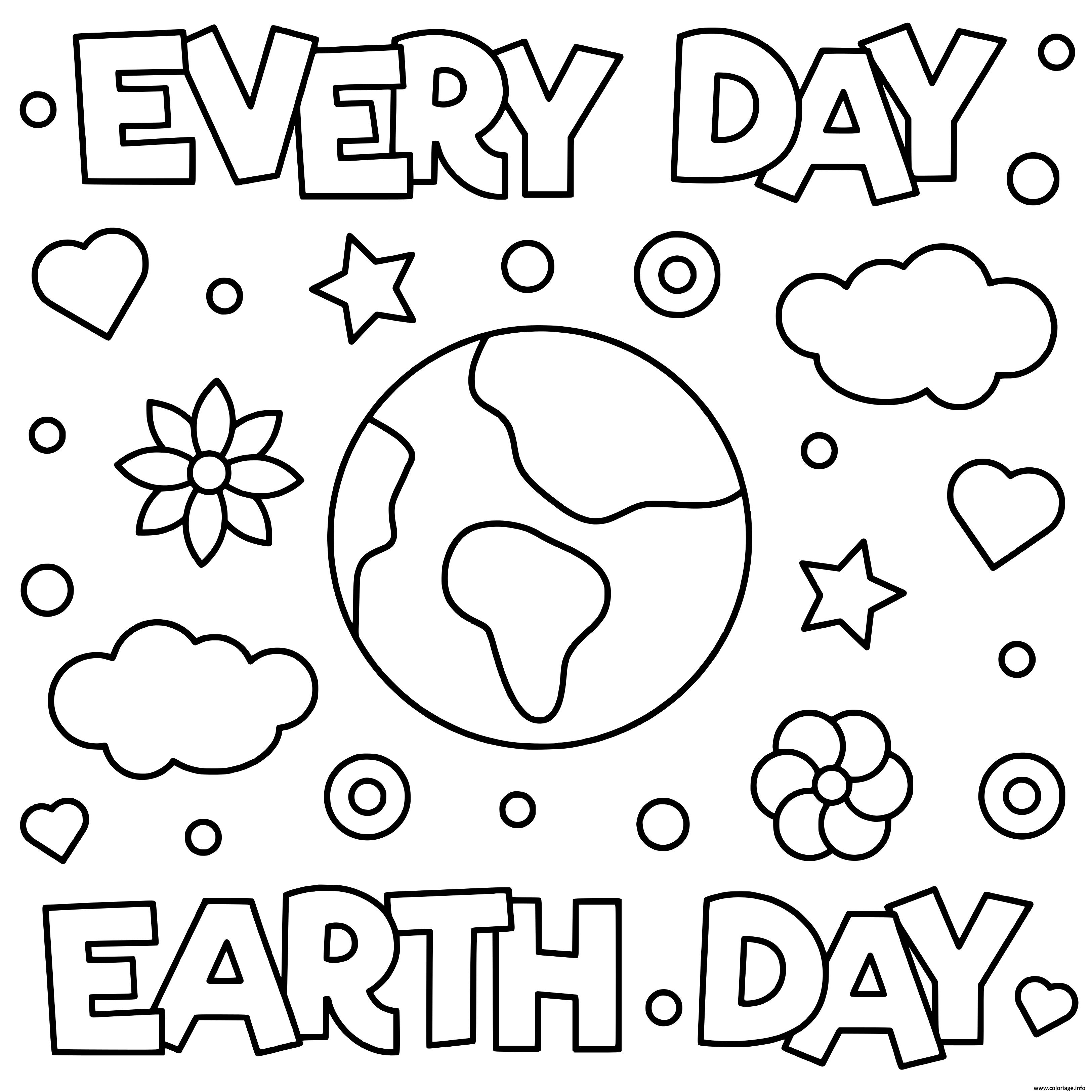 Dessin jour de la terre everyday earth day Coloriage Gratuit à Imprimer