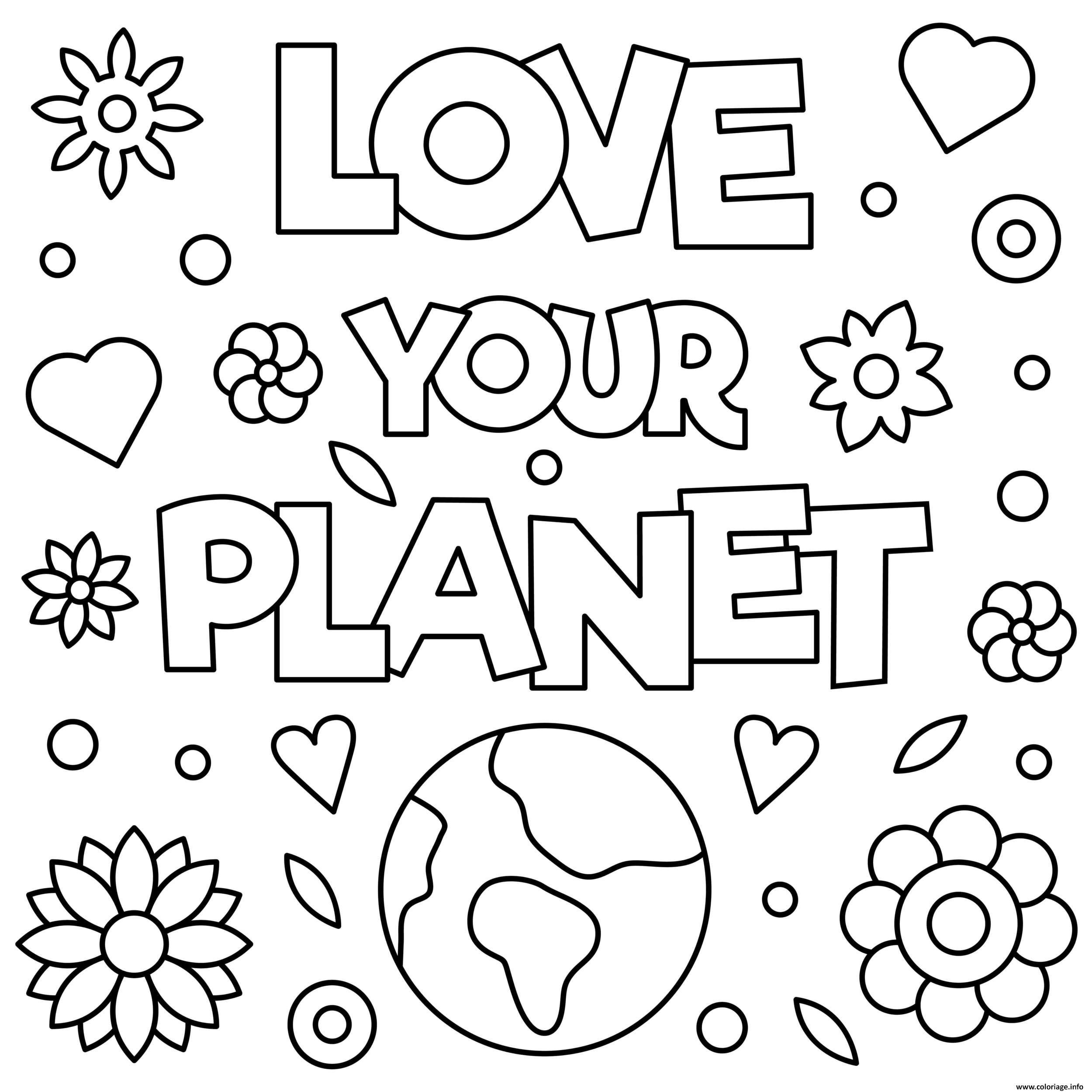 Dessin aime ta planete pour le jour de la terre Coloriage Gratuit à Imprimer