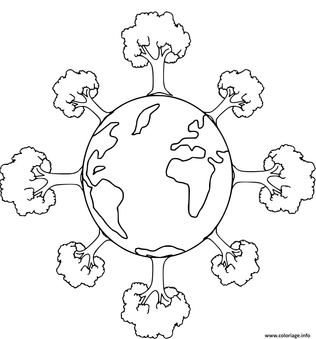 Dessin jour de la terre planete entouree arbres Coloriage Gratuit à Imprimer