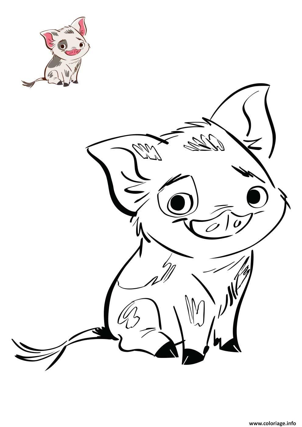 Coloriage Le Petit Cochon De Vaiana Disney Jecolorie Com