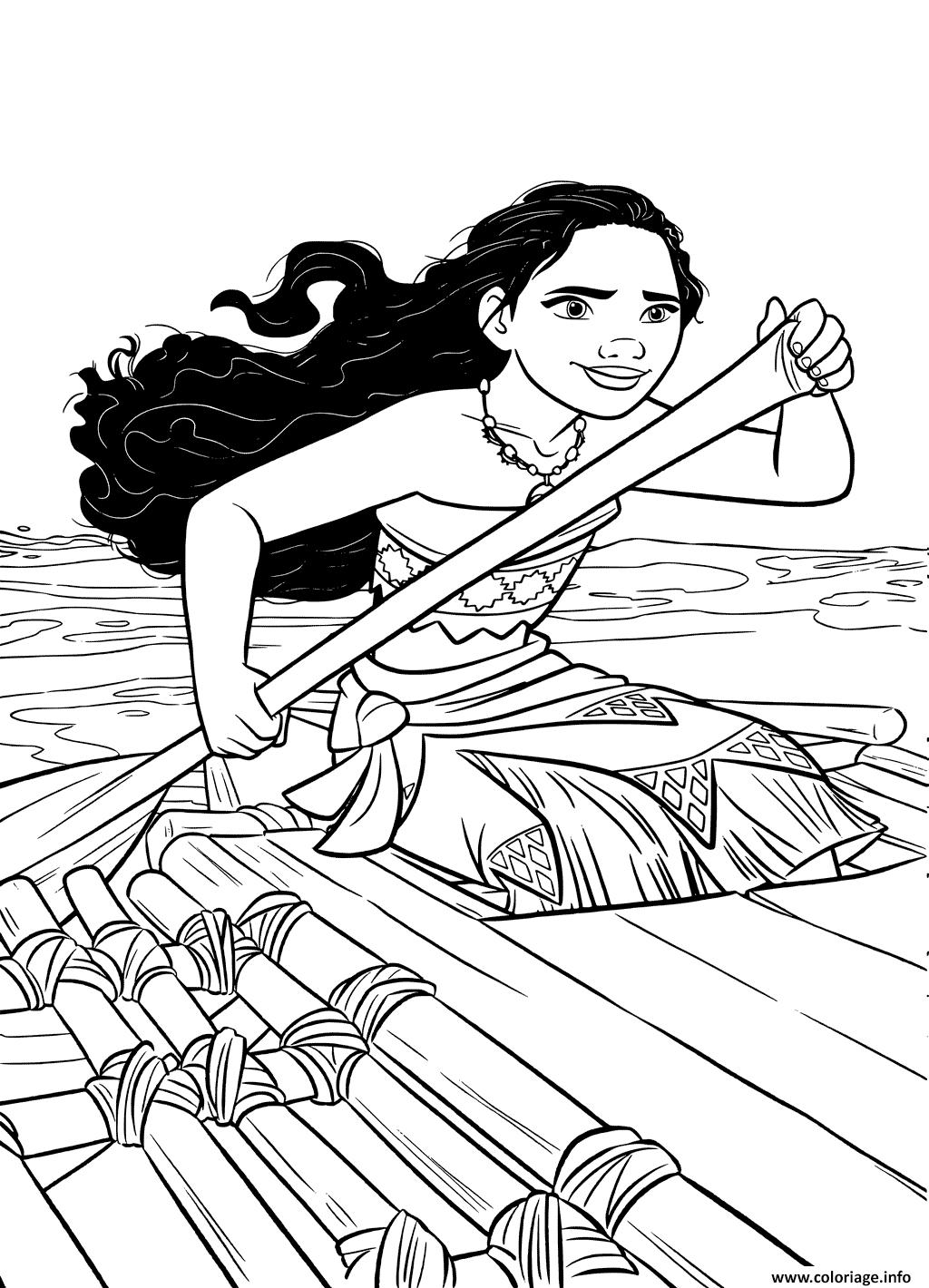 Dessin vaiana sur la mer avec un kayak Coloriage Gratuit à Imprimer