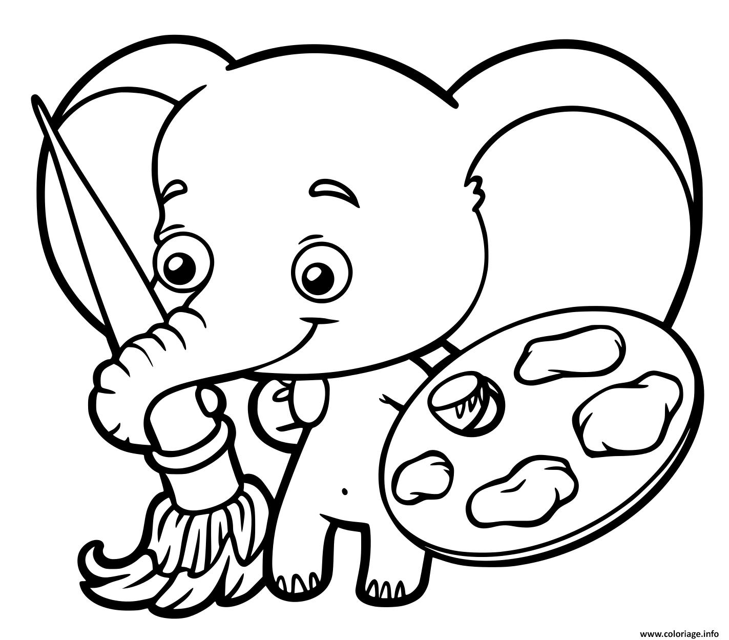 Coloriage Bebe Elephant Qui Peinture Dessin Elephant A Imprimer