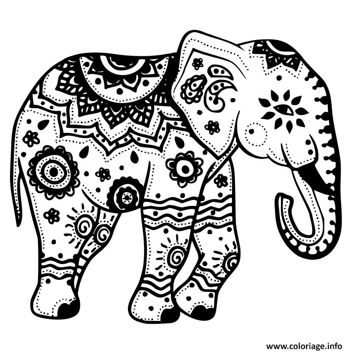 Coloriage Elephant Mandala A Imprimer Gratuit.Coloriage Elephant Avec Motifs Dessin