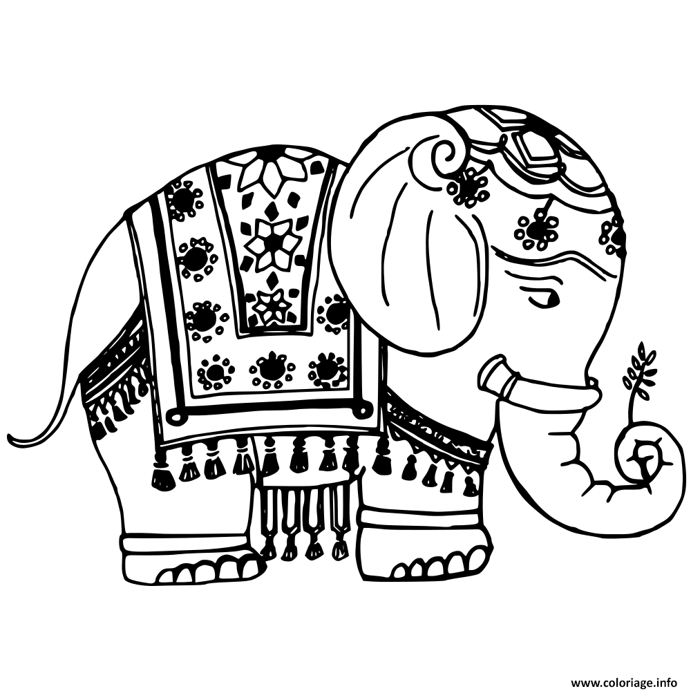 Coloriage A Imprimer Elephant Indien.Coloriage Elephant Bollywood Dessin