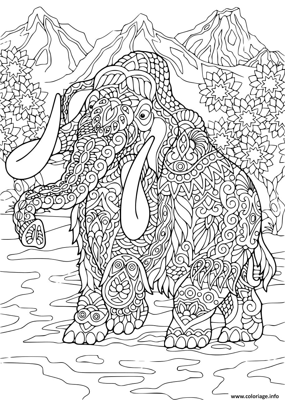 Dessin mammoth Elephant Adulte Zentangle Coloriage Gratuit à Imprimer