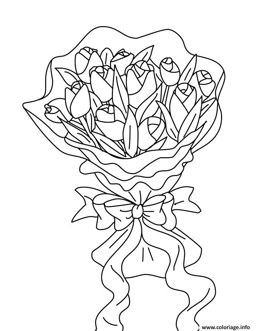 Dessin bouquet de fleurs 8 mars fete des meres Coloriage Gratuit à Imprimer