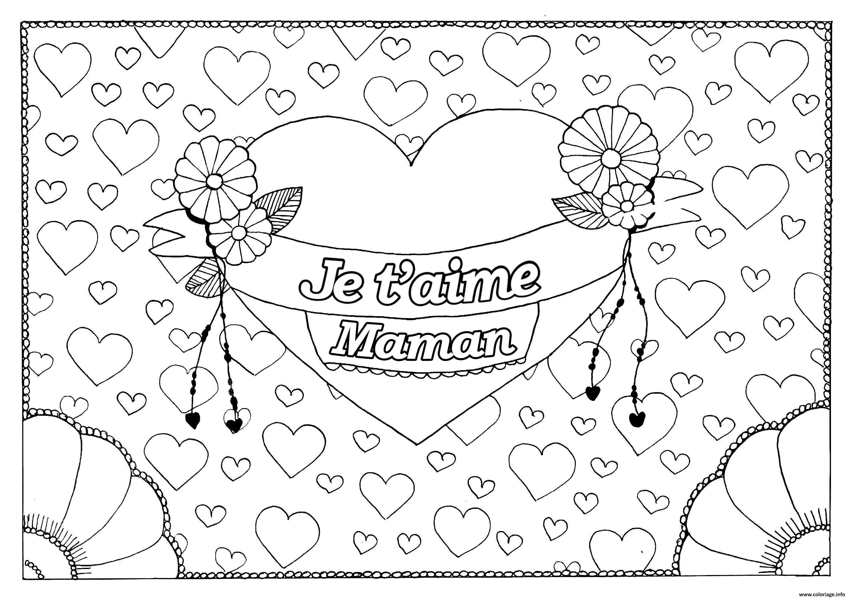 Coloriage Je Taime Maman Fete Des Meres Fond Coeurs Dessin