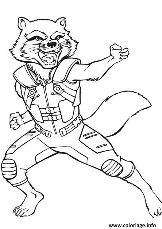 Coloriage Avengers Endgame Rocket Kung Fu Les Gardiens De La