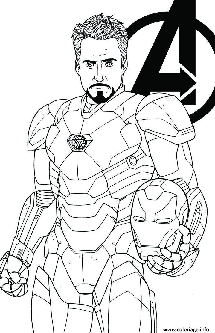 Coloriage avengers endgame iron man tony stark - JeColorie.com