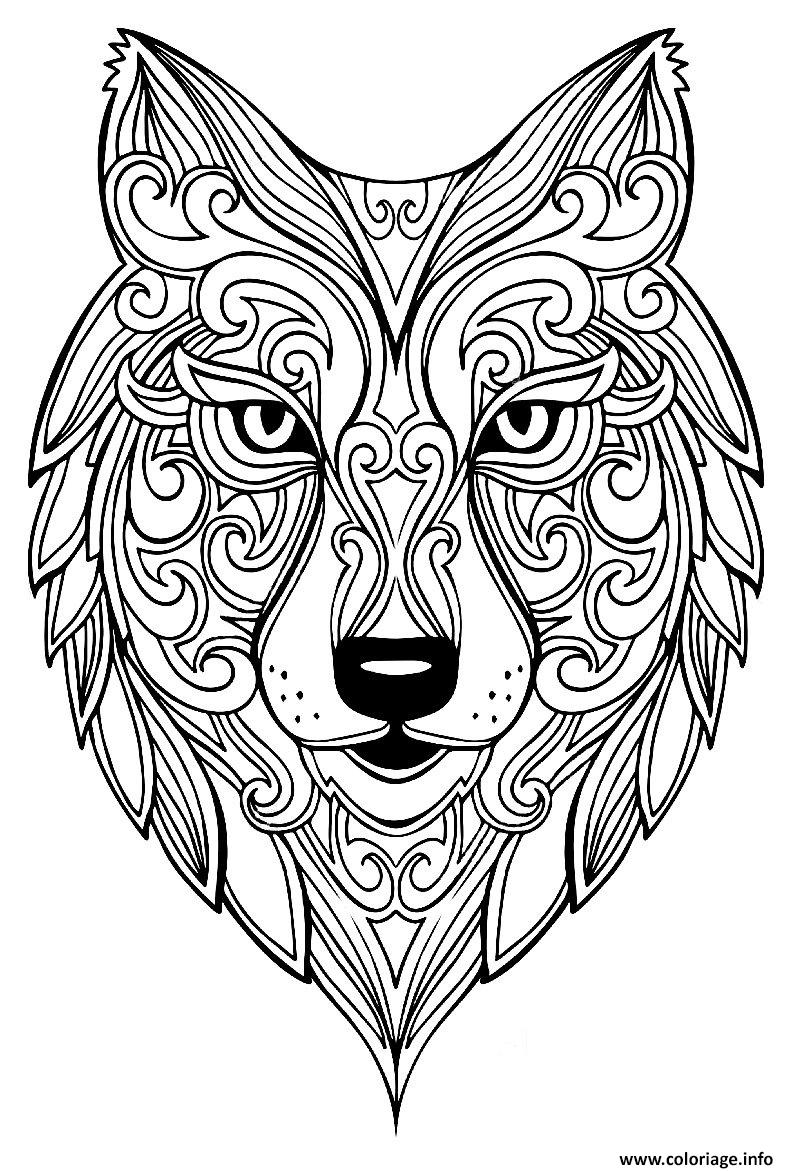 Coloriage loup adulte animaux - JeColorie.com