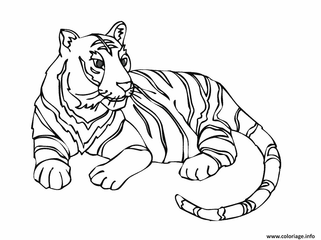 Dessin tigre dans la savane Coloriage Gratuit à Imprimer