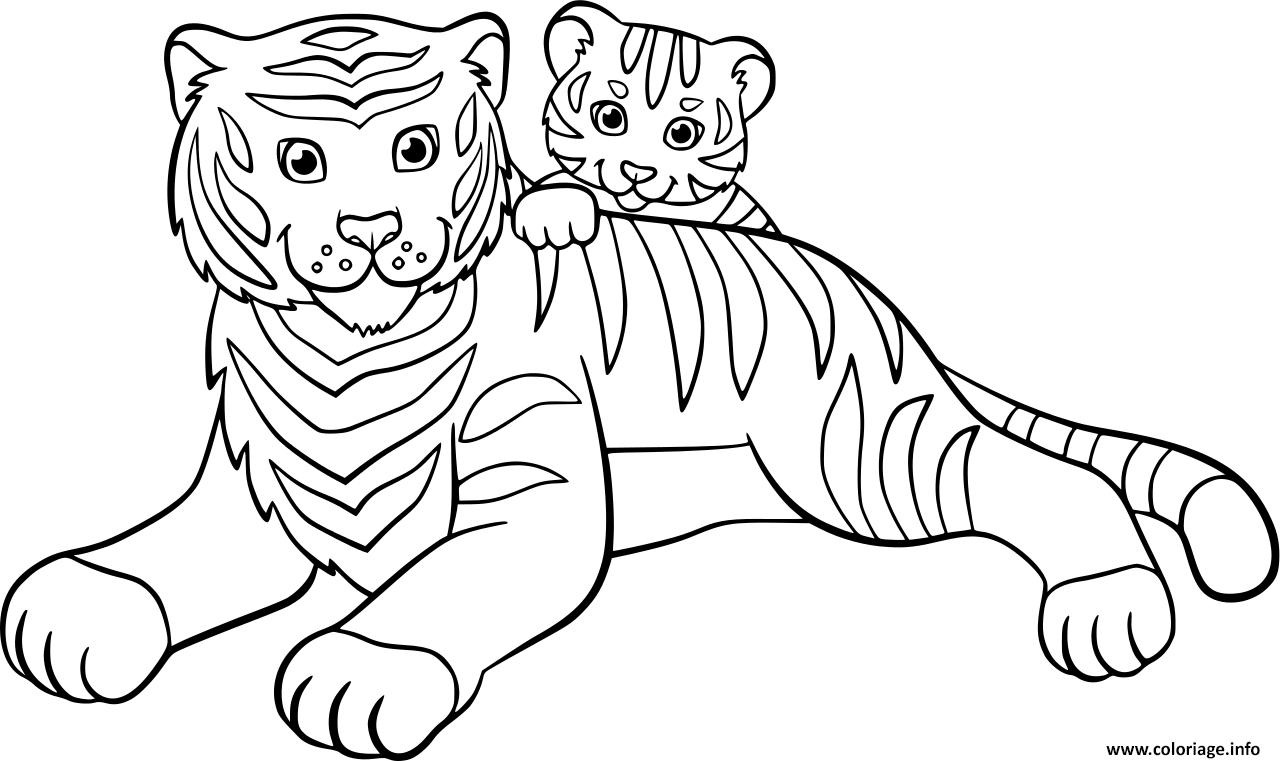 Coloriage Tigre Avec Son Bebe Tigre Famille Jecolorie Com