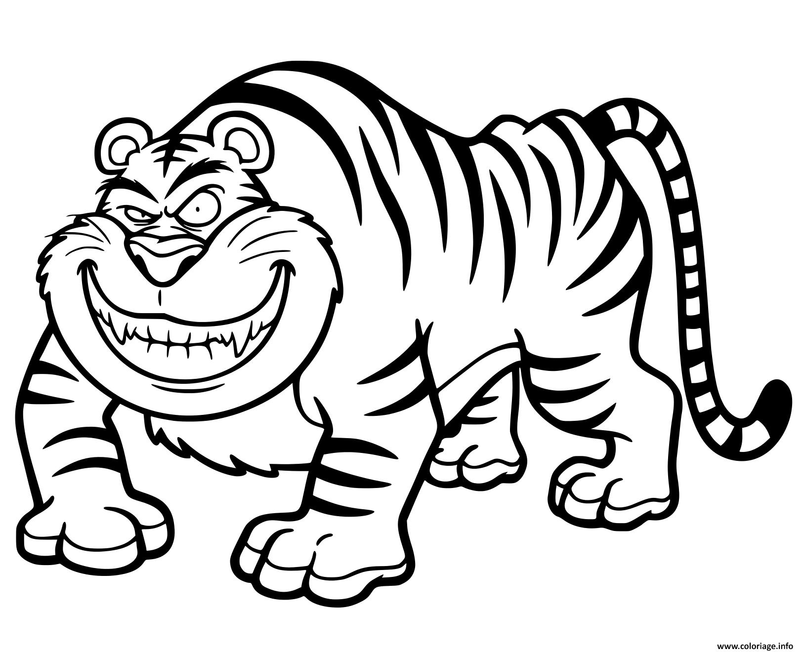 Coloriage Tigre Cartoon Amusant Jecolorie Com