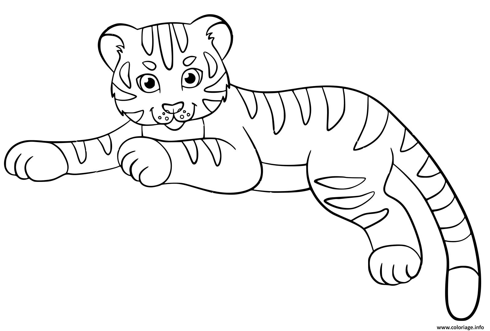 Dessin bebe tigre cute enfants Coloriage Gratuit à Imprimer