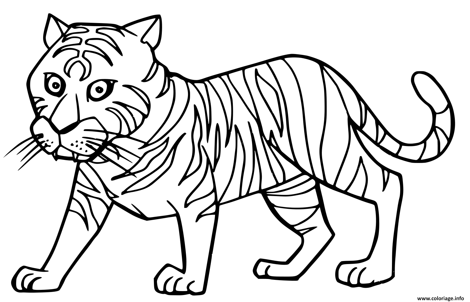 Dessin cartoon cute tigre Coloriage Gratuit à Imprimer