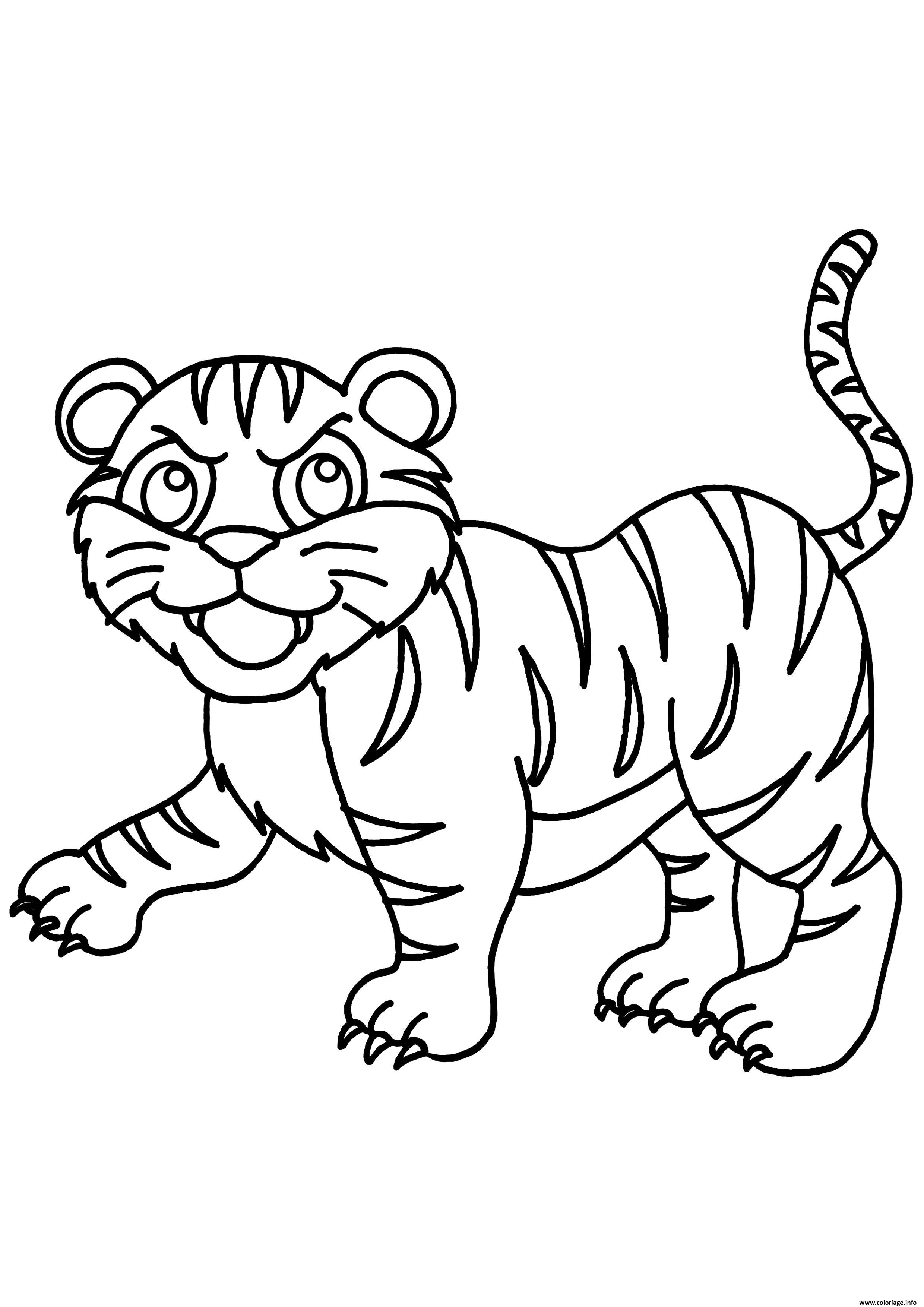 Dessin tigre de la famille panthera tigris Coloriage Gratuit à Imprimer