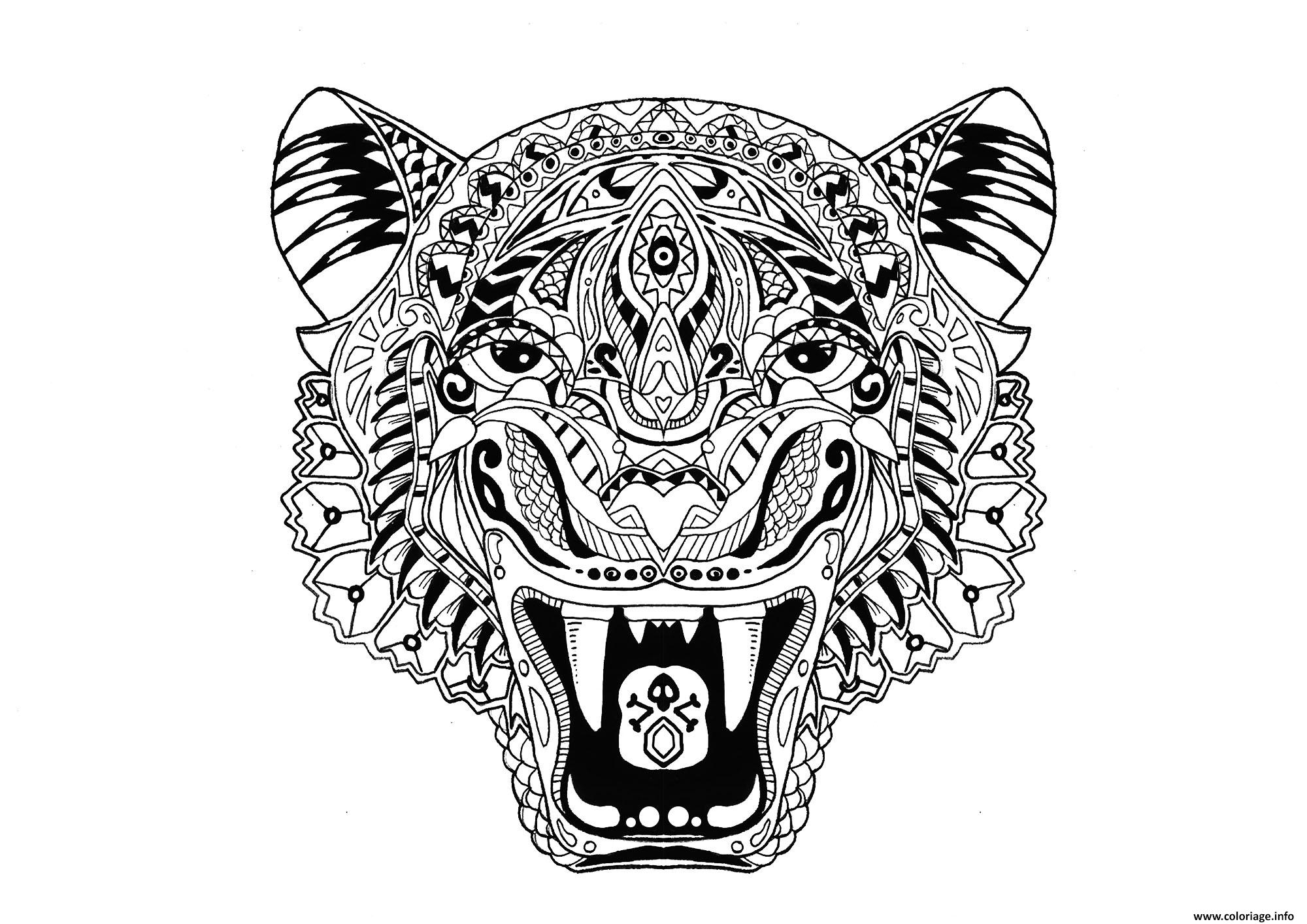 Coloriage Tigre Adulte Animal Jecolorie Com