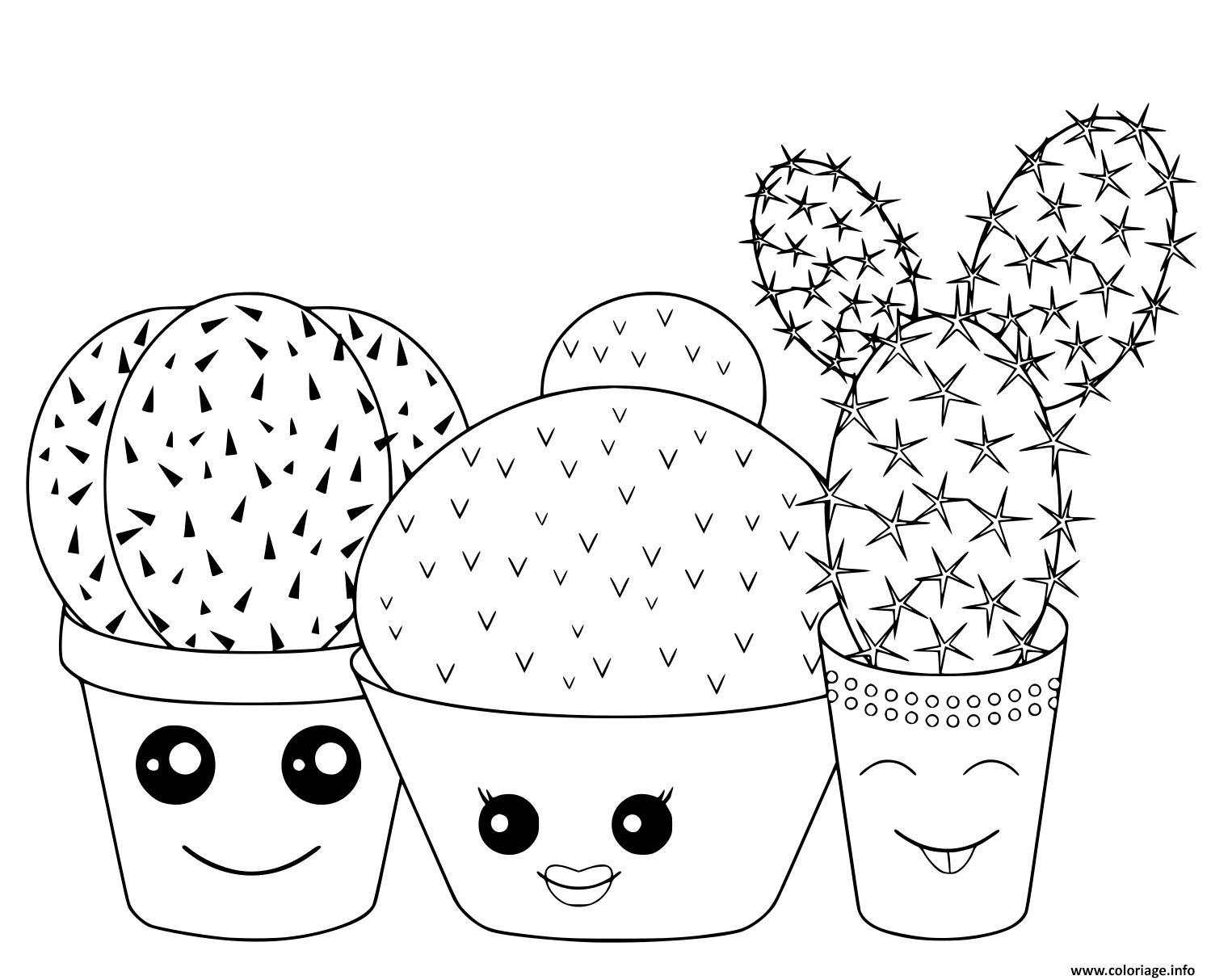 Coloriage Kawaii Cactus Cactaceae Famille De Plantes Jecolorie Com