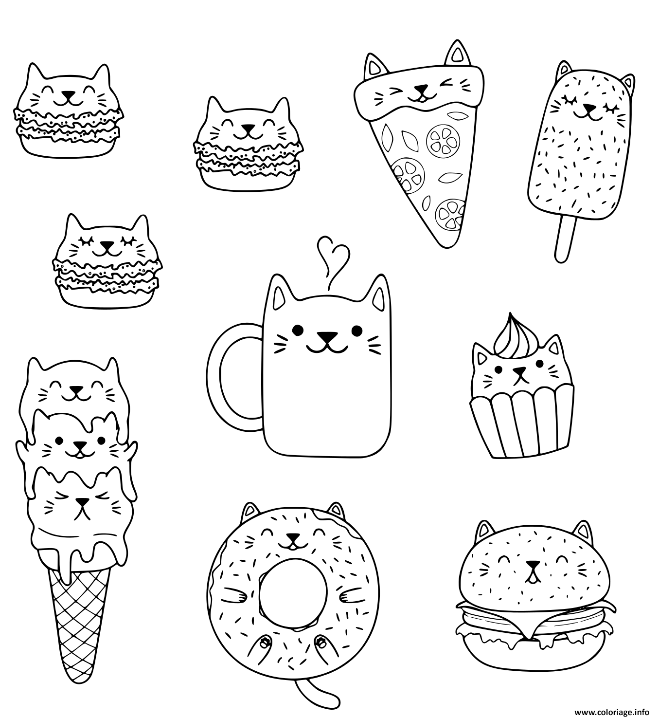 Coloriage Kawaii Chats Macarons Pizza Burger Ice Cream Donut
