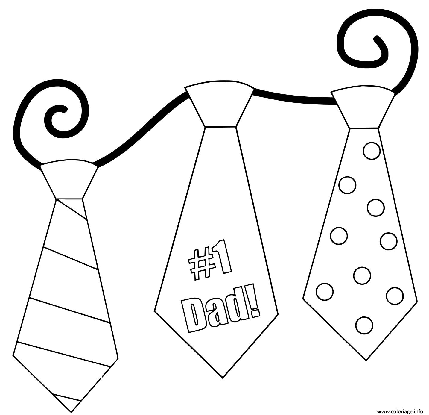Dessin cravattes fete des peres Coloriage Gratuit à Imprimer