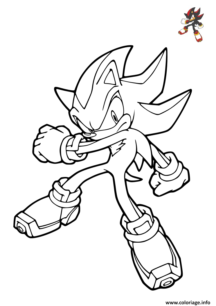 Dessin sonic shadow the Hedgehog Coloriage Gratuit à Imprimer