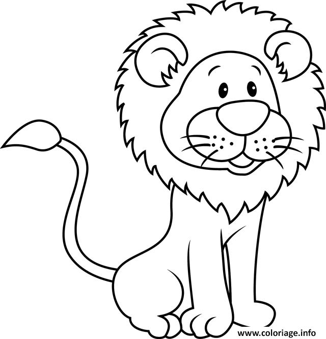 Coloriage lion cartoon - JeColorie.com
