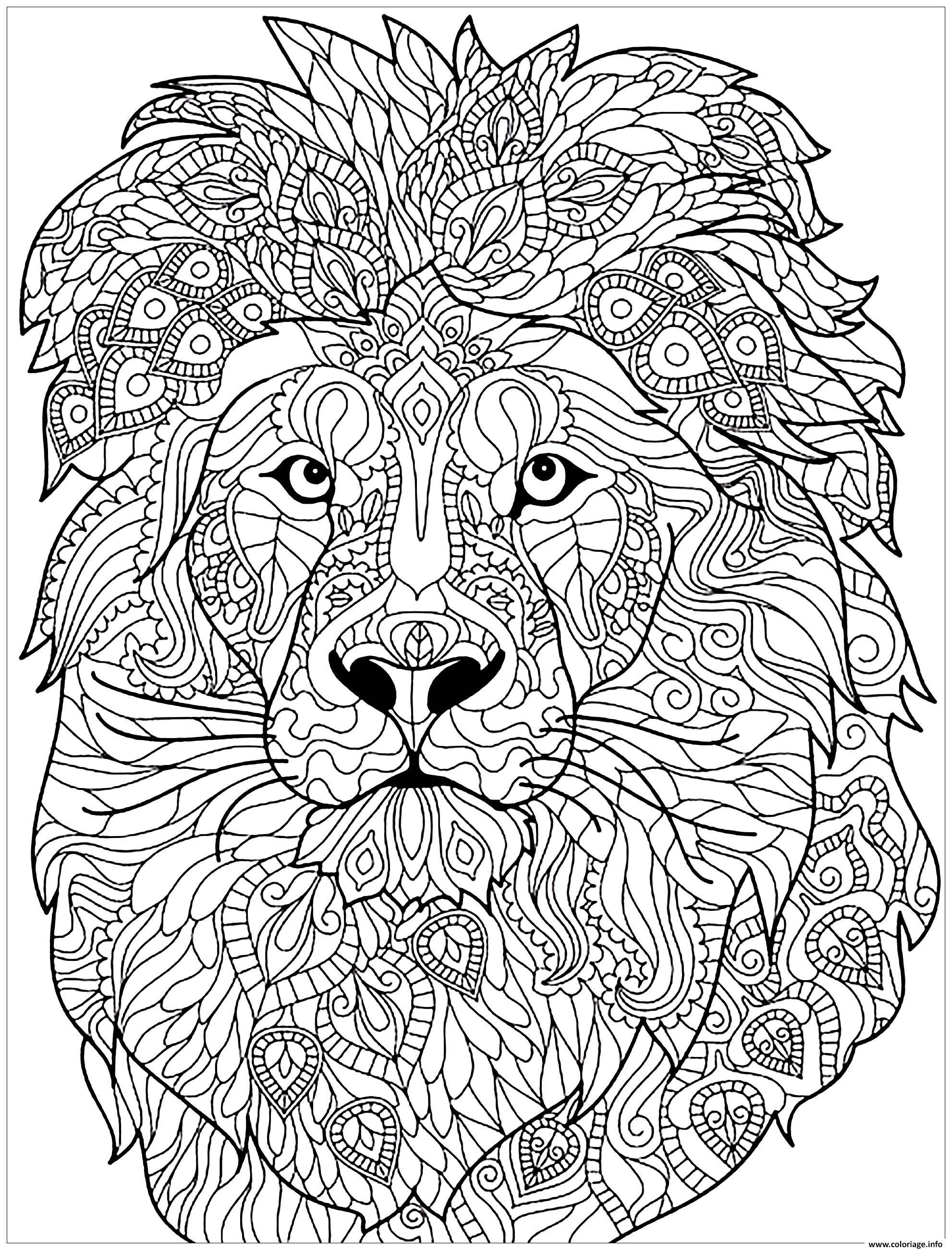 Dessin adulte lion motifs complexes Coloriage Gratuit à Imprimer