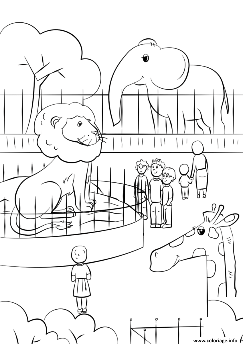 Coloriage Zoo Animals Dessin à Imprimer