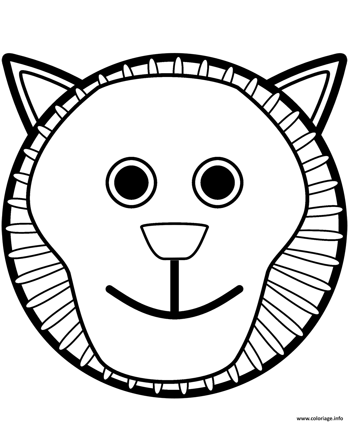 Coloriage Tete De Lion Mask Visage Dessin Lion A Imprimer