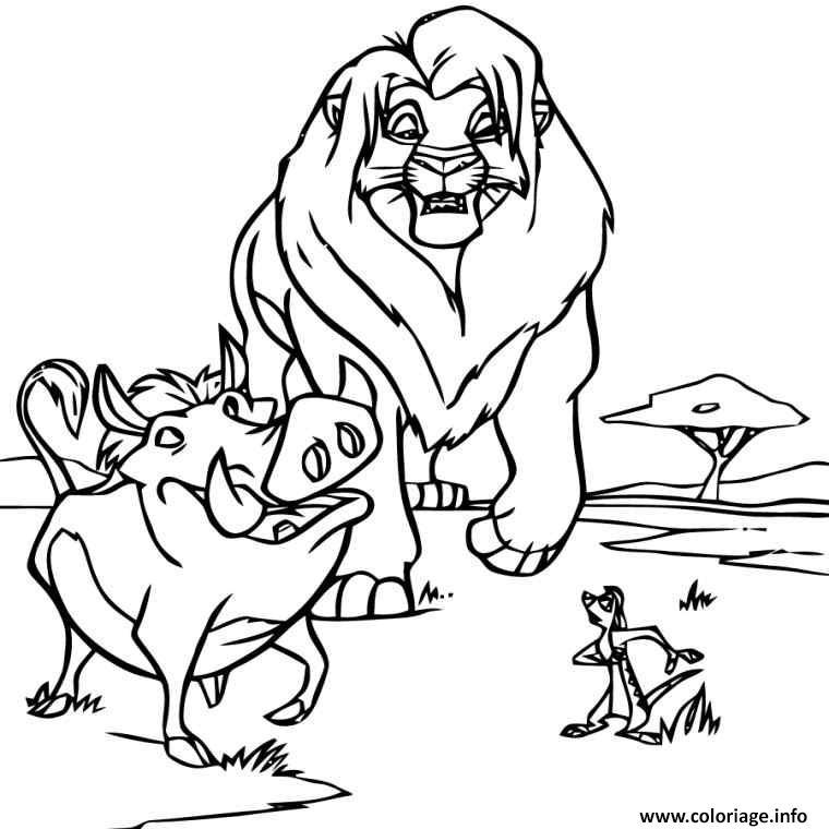 Dessin le roi lion avec pumbaa et timon Coloriage Gratuit à Imprimer
