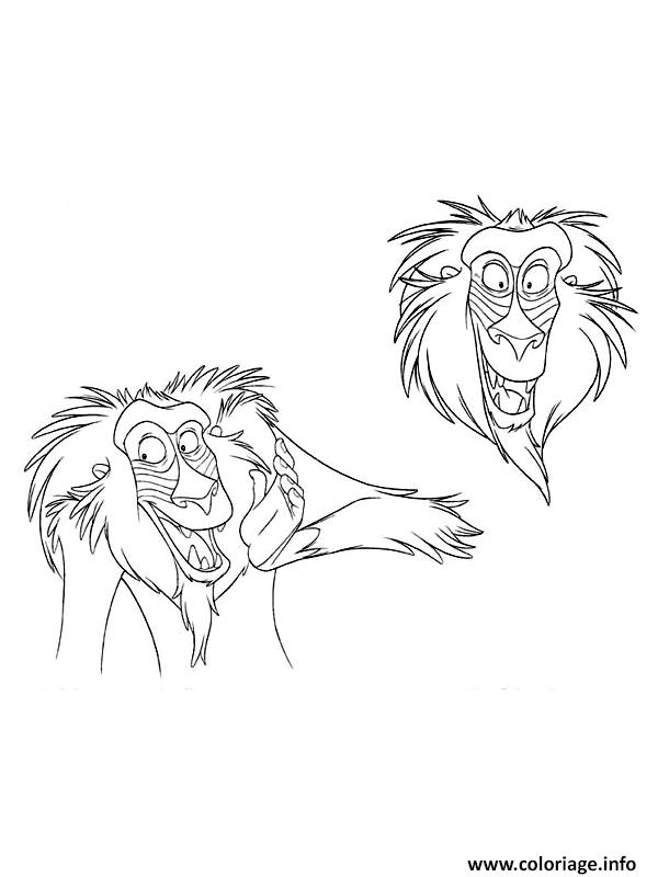 Coloriage Disney Roi Lion Rafiki Jecolorie Com