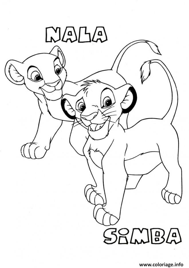 Dessin simba et nala bebe roi lion Coloriage Gratuit à Imprimer