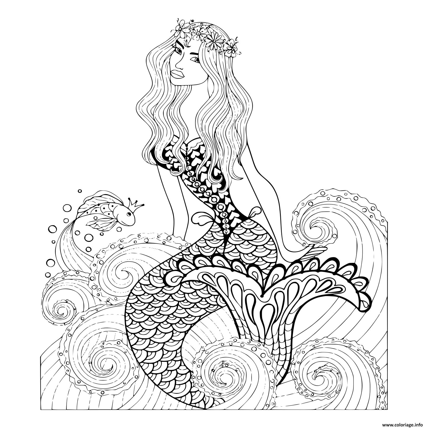 Kleurplaten Voor Volwassenen Paard Coloriage Fantastique Sirene Vagues De Mer Avec Un Poisson