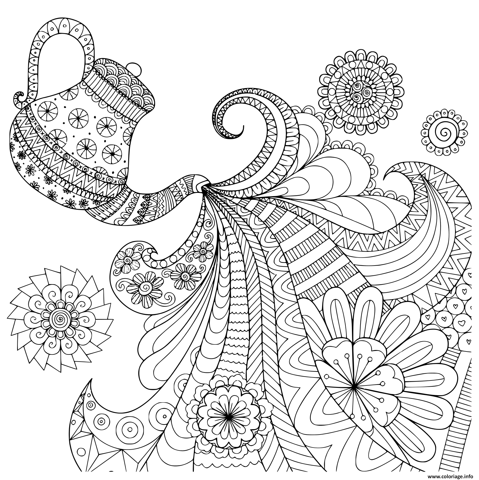 Coloriage Ligne Design De Theiere Versant The Pour Adulte Jecolorie Com