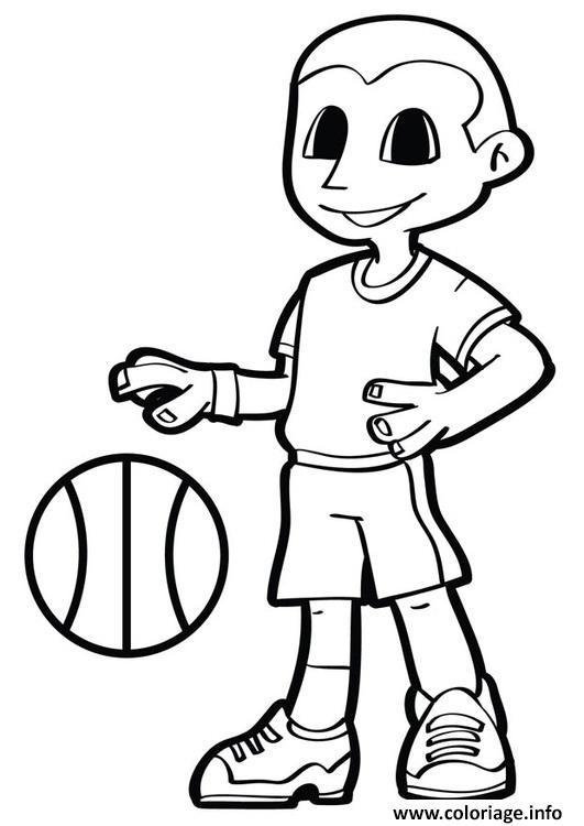 Dessin basket garcon sportif Coloriage Gratuit à Imprimer