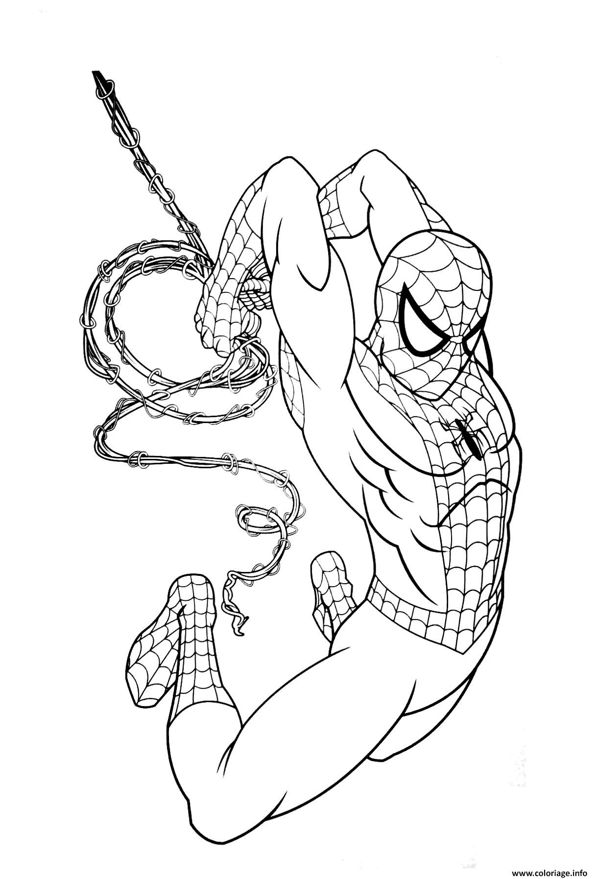 Coloriage Garcon Super Heros Marvel Spiderman Dessin à Imprimer
