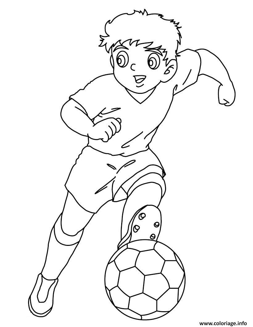 Dessin garcon foot capitaine tsubasa tom et olive Coloriage Gratuit à Imprimer