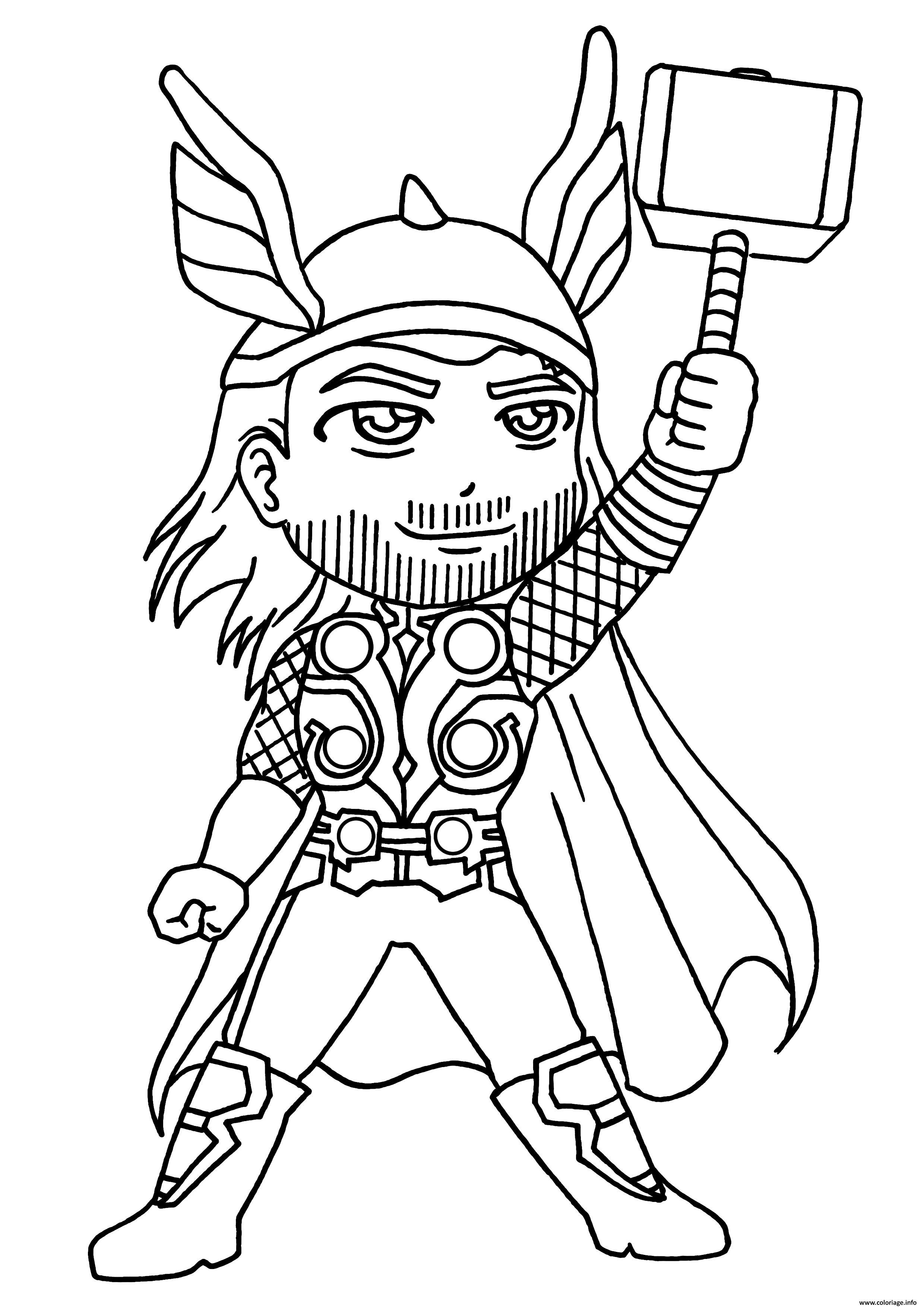 Coloriage Garcon Super Heros Thor Dessin