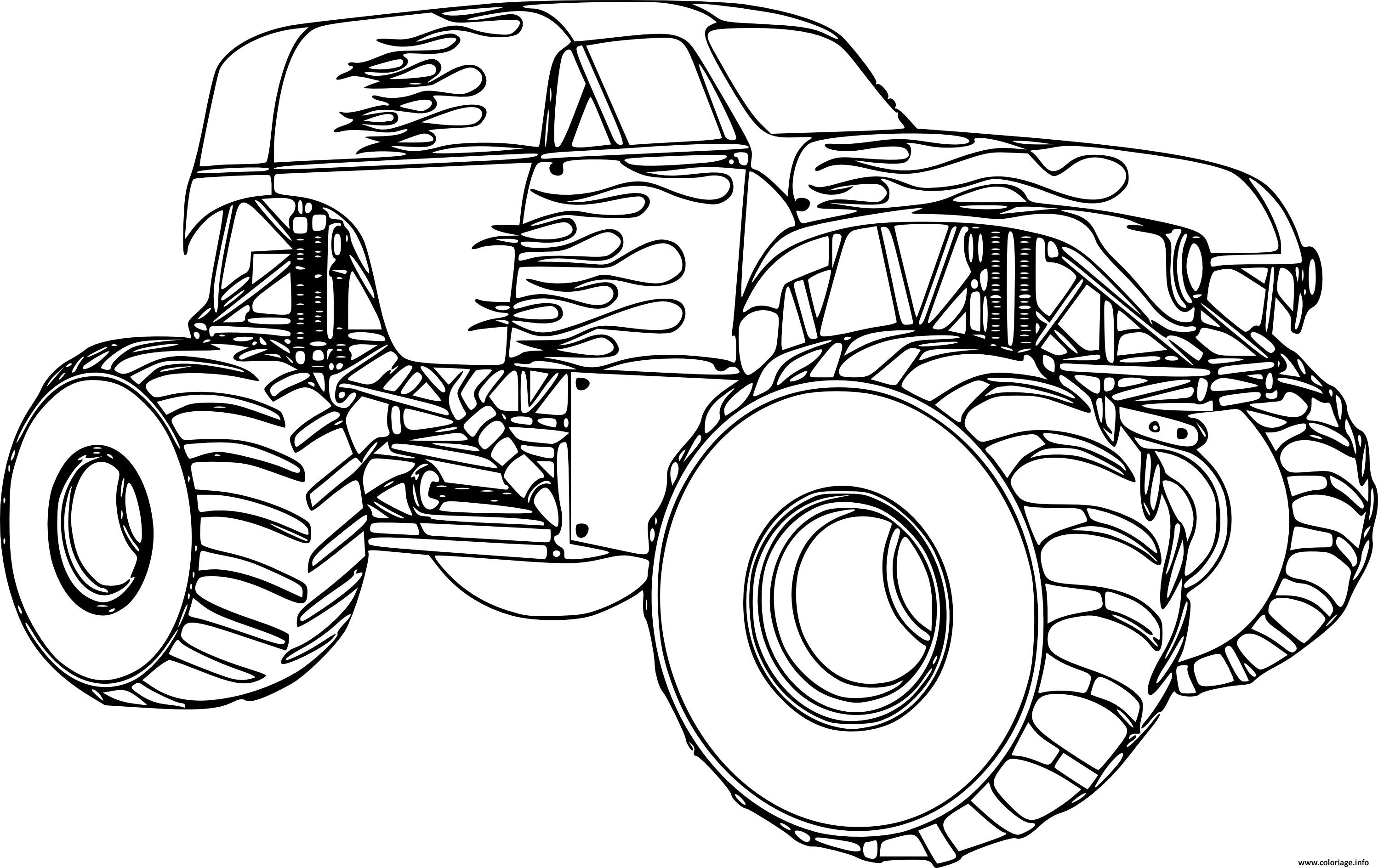 Coloriage Monster Truck Voiture 4x4 Garcon Dessin Garcon à ...