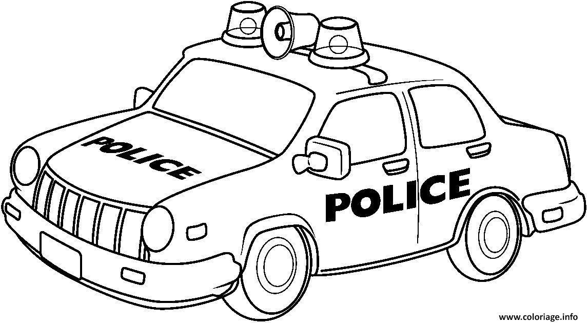 Coloriage voiture police garcon - JeColorie.com