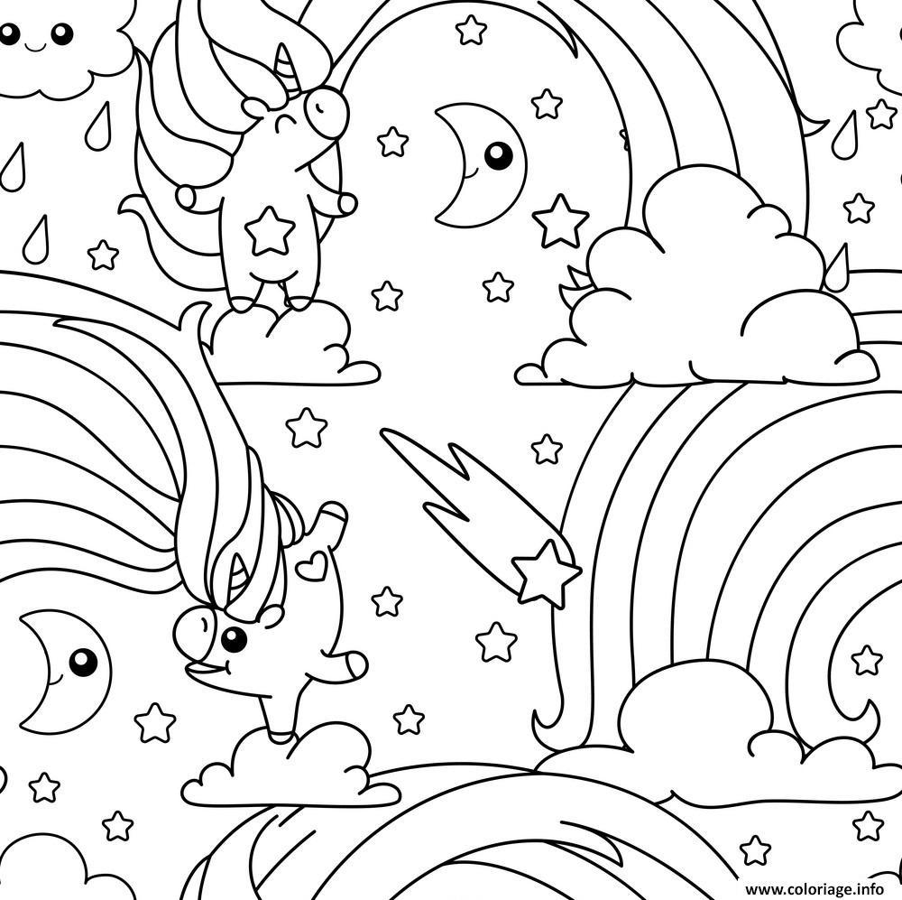Coloriage Licorne Arc En Ciel Unicorn Pattern Dessin Licorne à ...