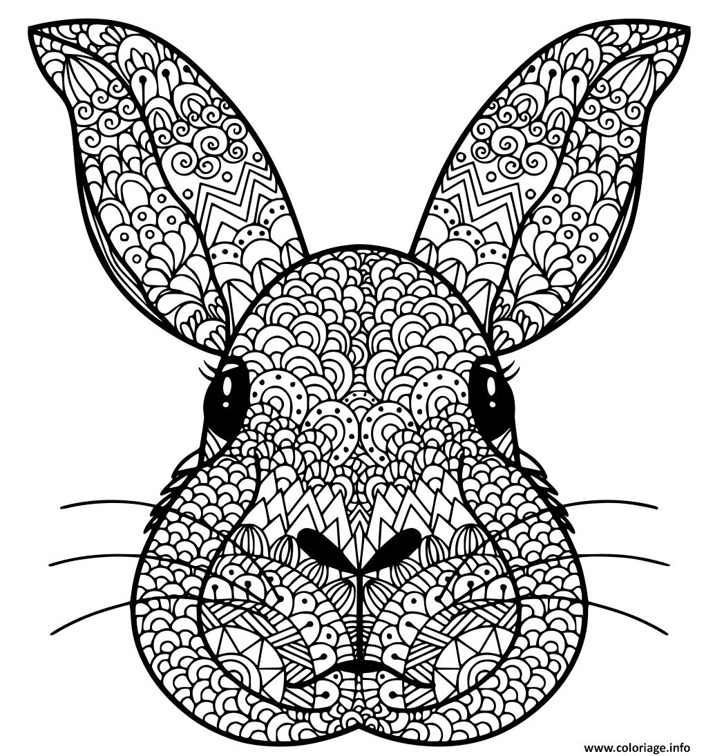 Dessin tete lapin manda Coloriage Gratuit à Imprimer