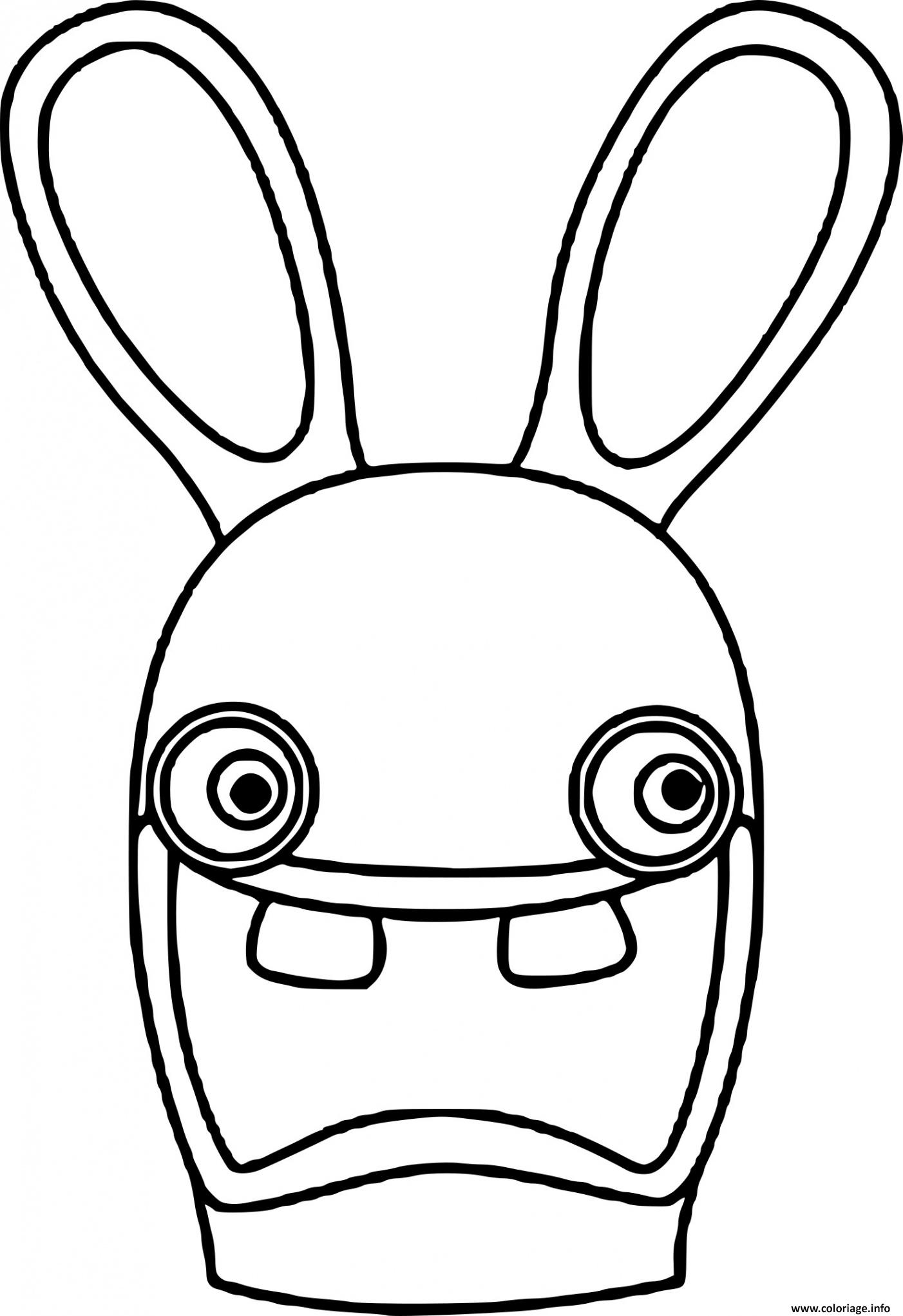 Coloriage tete lapin cretin - JeColorie.com